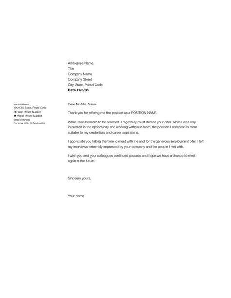 job decline letter sample employment rejection letter