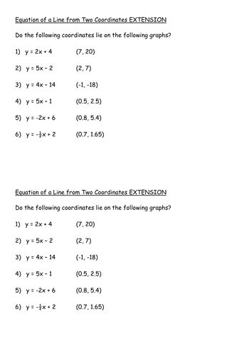 Writing Equations Of Lines Using A Point And Slope