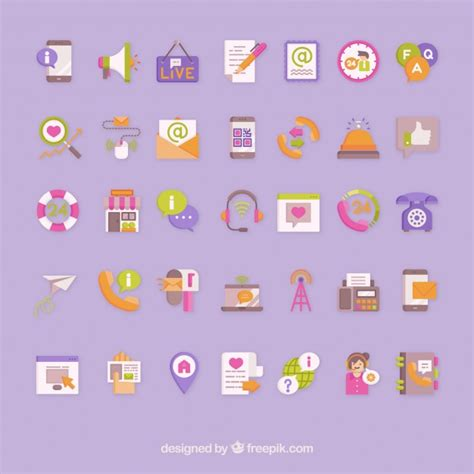 colorful icon pack colorful contact icons vector pack vector free