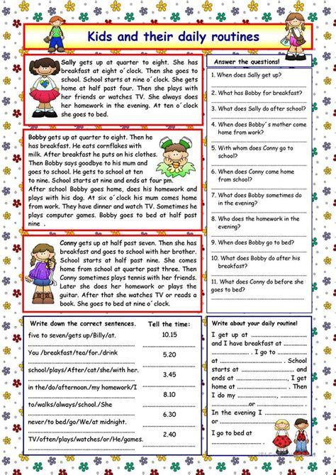 kids   daily routines key worksheet  esl