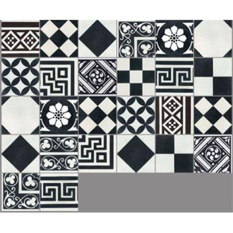 sticker faience cuisine carreau de ciment sol et mur noir et blanc patchwork l 20