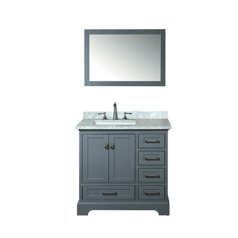 White Vanity With Gray Top by Stufurhome Newport 36 In W X 22 In D Vanity In Gray With
