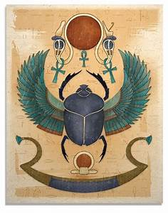 Egyptian Winged Scarab Art Print by TigerHouseArt on Etsy ...