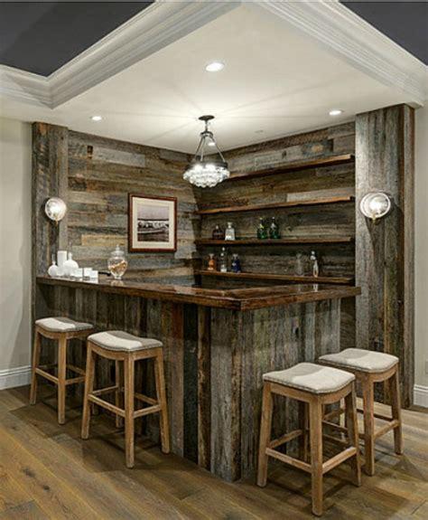 reclaimed barnwood corner  bar home bar designs diy home bar rustic basement bar