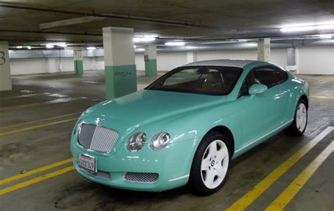 tiffany blue bentley continental gt spotted  beverly hills