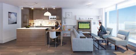 small scandinavian apartment open concept kitchen living