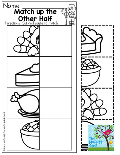 match up the other half thanksgiving fun for preschool