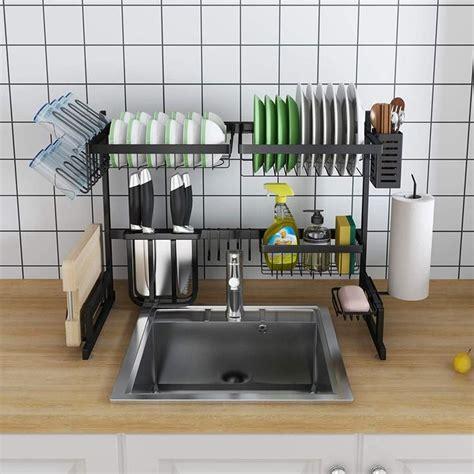 stainless steel  sink draining dish rack   dish racks sink kitchen dishes
