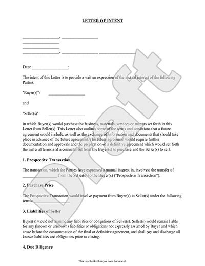 letter  intent  business purchase sample template