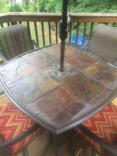 slate patio table original glass top was shattered so i