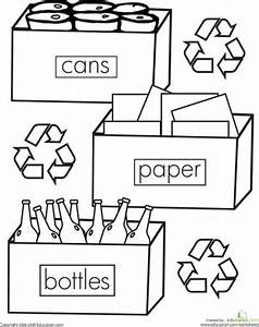 color the recycling worksheet educationcom With how to recycle