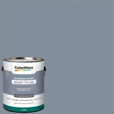 colorplace pre mixed ready to use interior paint blue grey sky flat finish 1 gallon