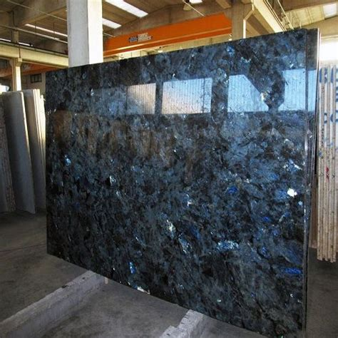 high polished lemurian blue granite slab  wall