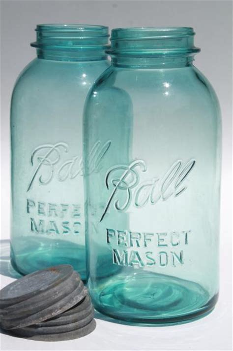 vintage aqua blue glass ball perfect mason jars big  quart size canning jar kitchen canisters