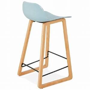 Tabouret Mi Hauteur : tabouret de bar chaise de bar mi hauteur scandinave scarlett mini bleu ciel ~ Teatrodelosmanantiales.com Idées de Décoration