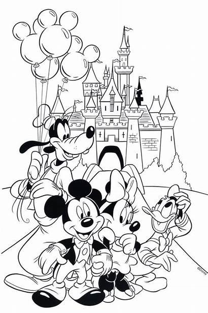 Coloring Disney Pages Castle Walt Printable Cinderella