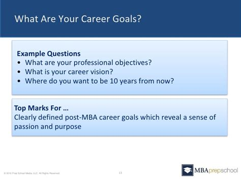 what are your professional goals five questions you must answer in your mba application