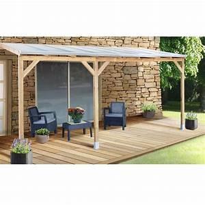 Tonnelle 4 X 3 : pergola adoss e bois trait toiture polycarbonate 3x4 9 m ~ Edinachiropracticcenter.com Idées de Décoration