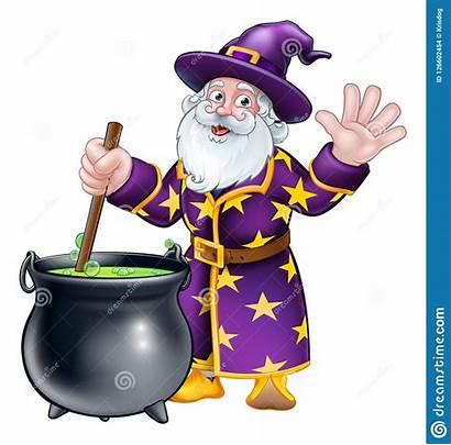 Wizard Cartoon Character Cauldron Magic Pot Potion
