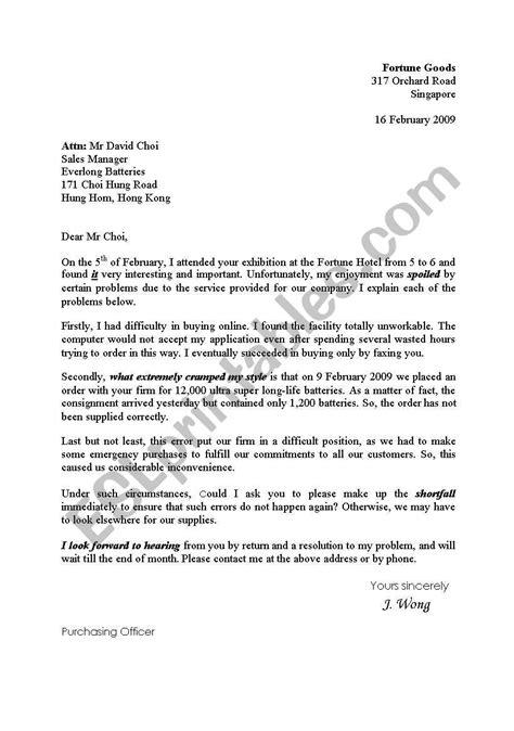 English worksheets: letter of complaint