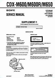 Sony Cdx-m600  Cdx-m600r  Cdx-m650 Service Manual