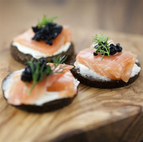 salmon canapes smoked salmon and caviar canapés chefs 39