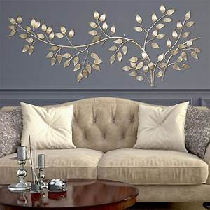 Stratton Home Decor Brushed Gold Flowing Leaves Wall Decor ...