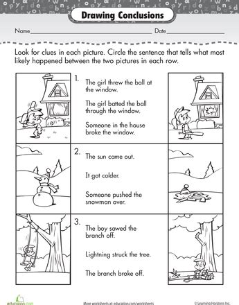 Story Comprehension Drawing Conclusions  Drawing Conclusions, Worksheets And Drawings