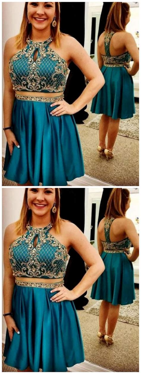 Teal Cheap Cute Short Two Piece Homecoming Dresses by ...