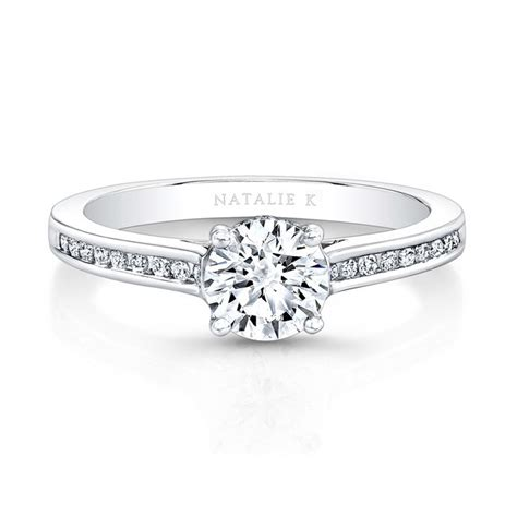 white gold channel set diamond band engagement ring