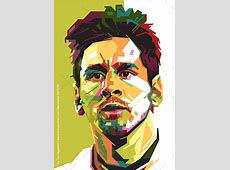 Lionel Messi in WPAP Pop Art Asize Poster Green
