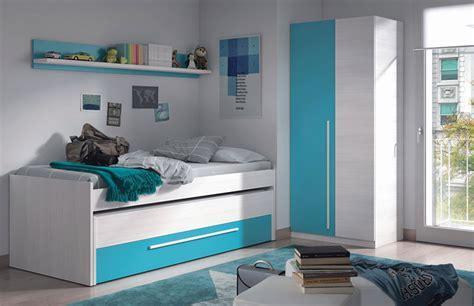 dormitorio juvenil en color blanco  frentes blanco  azules