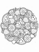 Coloring Zentangle Fruit Adults Adult Mycoloring Printable sketch template
