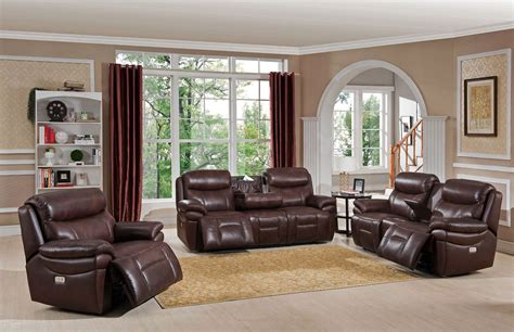 Reclining Living Room Set by Summerlands Ii Brown Adjustable Headrest Power Reclining