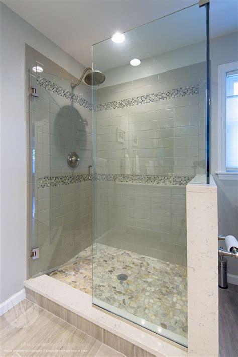 glass shower stall river rocks frameless glass shower