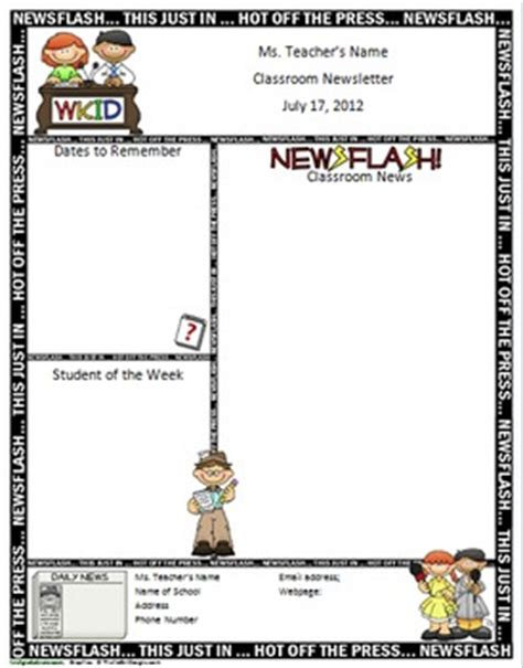 Free Classroom Newsletter Templates by News Reporters Classroom Newsletter Template Editable By