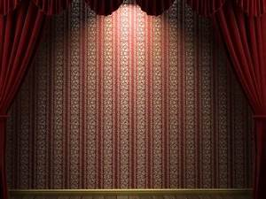 Red velvet theatre curtains ppt backgrounds border and for Velvet curtains background