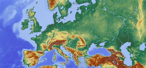 europe topographic map casami