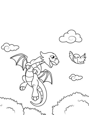 Dragon and Bird coloring page Free Printable Coloring Pages