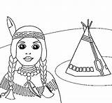 Teepee Indian Coloring Colored Coloringcrew Colorear Indians sketch template
