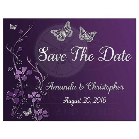 Wedding Save The Date Card Purple plum Silver