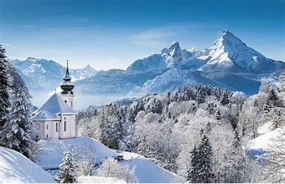 Winter Alpen Watzmann Maria Bavaria Kirche Winterlandschaft