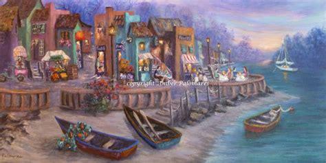 village tuscan painting sea amber paintings palomares italy italian seascape cafe coastal decor boats fine canvas marshes prints boat 18x36