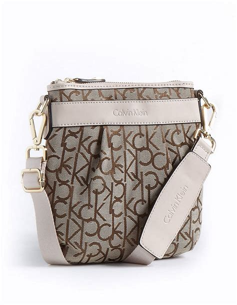 calvin klein monogram crossbody bag  white khakibrown