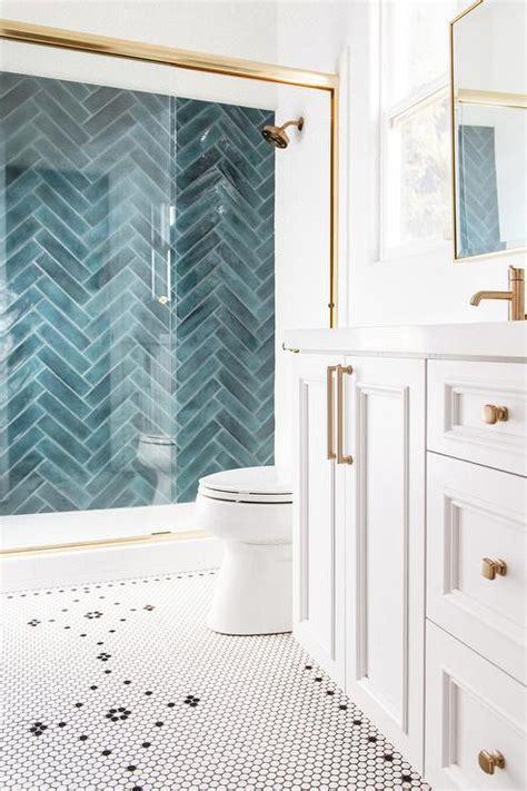 black  white penny bath floor tiles contemporary