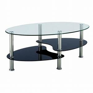 Table Basse Noir Et Blanc En Verre Tremp Ovale Opunake