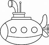 Submarine Coloring Clip Line Sweetclipart sketch template