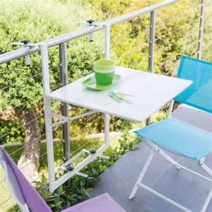 Table De Balcon Rabattable : table de balcon suspendue et rabattable tablette ajustable coloris blanc dirtap ~ Teatrodelosmanantiales.com Idées de Décoration
