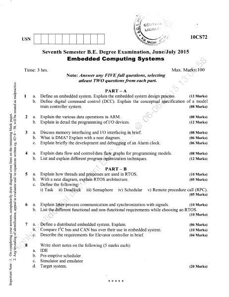 VTU B.E CSE 7th Semester Question Papers June July 2015