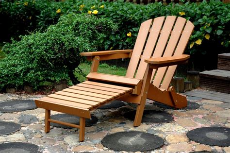 faux wood folding adirondack chair with pull out ottoman